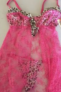 NWT Elegant Moments Leopard and Lace Chemise